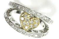 0.8 ctw Natural Diamond Solid 14k Two Tone Gold Wide Open Double Band Heart Ring