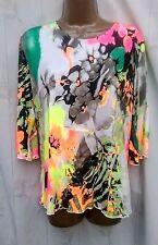 Floral water paint print 3/4 slv top ruffle hem Jostar USA Travel Wear -M
