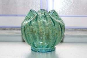 Antique Dugan Glass Striped Frit Vase Rose Bowl Pinched Form Pompeian