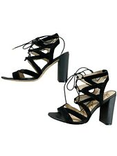 Sam Edelman Black Suede Lace Up Sandals Size 9 Block Heel