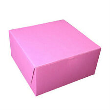 "PINK CAKE BOX, PASTRY BAKERY 8"" X 8"" X 5"" 1-PIECE TUCK TOP, HINGED (12 BOXES/PK)"