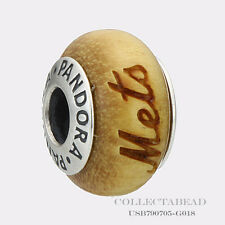 Authentic Pandora Silver New York Mets Pau Amarelo Wood Charm USB790705-G018