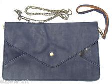 MINI DARK BLUE TOTE CLUTCH WRISTLET BAG SHOULDER GOLDEN METAL PATTERN STRAP NEW