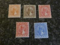 MALAYA STATES PERAK POSTAGE STAMPS SG105B,108,109,111A,114 LIGHTLY MOUNTED MINT