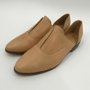 Nisolo Emma d'Orsay Oxford Slip On Tan Leather Shoes size 9