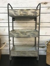 Industrial Metal Galvanised 3 Tier Wall Unit Shelves Storage Vintage Retro