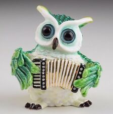 Owl Play music Trinket Box by Keren Kopal Faberge with Austrian Crystals