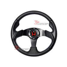 320mm JDM Racing Sport Steering Wheel Black PVC Leather & Blue Stitching w/Horn