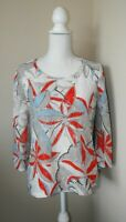 CHICO'S White White Red Blue Brown 3/4 Sleeve Sheer Geometric Design Top Size 1