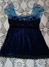 Anthropologie Free People navy sky blue velvet applique lace fairy babydoll top