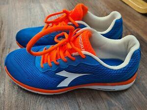 DIADORA TRAINERS RUNNING SHOES SIZE 9 UK EUR 43 BLUE & ORANGE