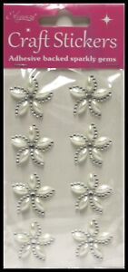 SELF ADHESIVE DIAMANTE AND PEARL STICK ON SPARKLY  CRYSTAL LARGE  FLOWERS