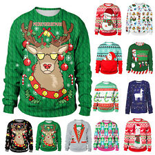Christmas Xmas Men Women Sweatshirt 3D Print Sweater Pullover Jumper Shirt Tops