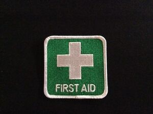 100% QUALITY EMBROIDERED FIRST AID BADGE PATCH > 7.5cm x 7.5cm Iron On or Sew on