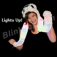FUN! Plush Panda Animal Hat with Flashing Light Up Arms and Paw Mittens - CUTE!