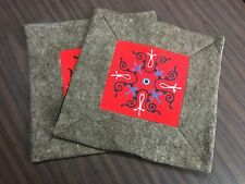 Kyrgyzstan Traditional Felt Handmade Pair Embroidered Pillow Case Cushion Cover