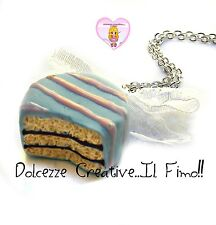 Collana cioccolatino glassato celeste - miniature kawaii handmade idea regalo
