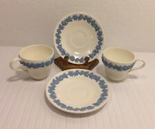 Blue Wedgwood Embossed Queens Ware Of Etruria Barlaston 2 Cups 2 Saucers