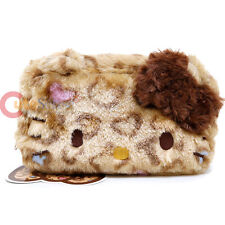 Sanrio Hello Kitty Brown Leopard Plush Fur Pouch Bag Pencil Case Cosmetic Bag