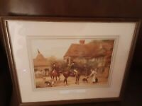 """Vintage Print """"A Morning Call"""" Heywood Hardy Framed/Matted 1843- 1933, 11x14"""