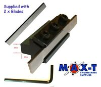 """Parting Off Lathe Tool Holder with 2 x 3/32"""" X 1/2"""" X 4"""" HSS Blades"""