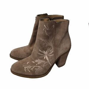 Lucky Brand Boots Booties Elenor Suede Leather Beige Embroidered Floral Heels 7