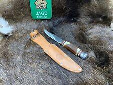 Puma Vintage Hirschhorn Griff (corno di cervo) Coltello da scout fodero in cuoio Nuovo di zecca