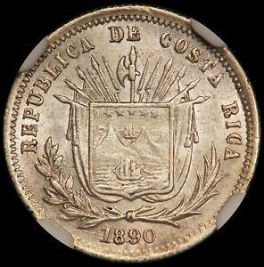 1890 Heaton Costa Rica 5 Centavos Silver Coin - NGC MS 64 - KM# 128