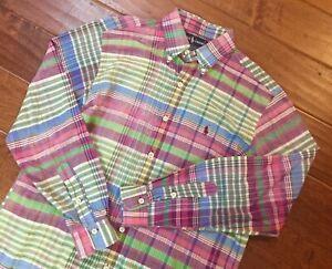 Ralph Lauren Mens Pink Green Purple Multicolor Plaid Madras L/S Shirt Medium M