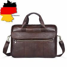 Herren Aktentasche Echtes Leder Laptop Handtasche Arbeit Büro Umhängetasche DE