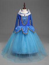 Nwt Sleeping Beauty Princess Aurora Party Blue Dress Kids Costume for Girls