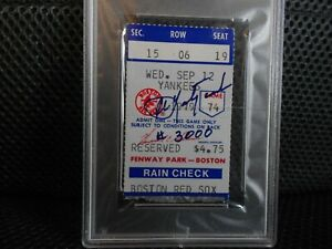 1979 BOSTON RED SOX CARL YASTRZEMSKI SIGNED AUTO TICKET STUB HIS #3000 HIT