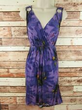 Lane Bryant Womens Dress Size 14 - 16 Purple V Neck Ruched Floral Summer Casual