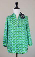 NWT Elizabeth McKay Brooke Shirt Butterfly Print, Blue Green, Sz 0  ($215)