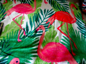 "Nicole Miller Pink Flamingo Beach XL Towel Palm Leafs 36"" x 68"" Pool Bath Sheet"
