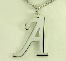 """Vintage Sterling Silver Letter A Initial Pendant 22"""" Endless Curb Chain Necklace"""