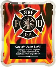 Fire Department Hero Plaque With Fire background - with free Personalization