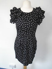 French Connection Black 100% Cotton Lined Bird Print Summer Dress Size 12