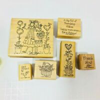 Stampin Up! Set 2001 Forever Friends Wood Mounted Rubber stamps Card Making (N)