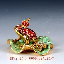 Chinese Cloisonne Handwork Carved Frog Box Statue JTL072
