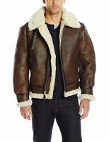 RAF B3 Brown Mens Leather Jacket Aviator Bomber Faux Fur Shearling Pilot Flying