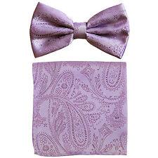 New formal men's pre tied Bow tie & hankie set paisley pattern lavender wedding