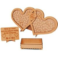 Wedding Drop Box Personalised Double Heart Guest Box Hand Crafted in UK