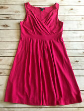 Lands End Womens M Medium 10 12 Sleeveless Fit and Flare Dress Solid Pink Modal
