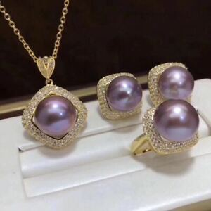 Certified Natural Purple Pearl 18K Gold Plated Pendant Ring Earrings Set Gift