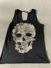 Pull And Bear Ladies Charcoal Skull Vest Top Size M
