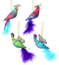 4 x Luxury Gisela Graham Animal Fantasy Jewel & Gold Parrot Christmas Decoration