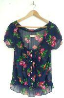 HOLLISTER Blue Pink & Green Floral Flower Sheer Button Front Summer Top Medium