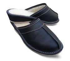Damen Hausschuhe Pantoffeln Echtleder schwarz mit Lammwolle Gr. 37 - 41