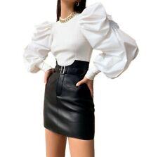 Women Stretch Long Puff Sleeve Blouse Tops T Shirt Autumn Spring Clubwear Sexy D